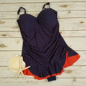 Mazu Navy Blue Skater Swimdress